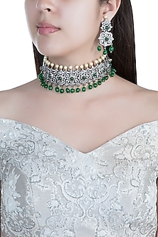 Black Rhodium Faux Diamond, Pearl & Green Stone Necklace Set by Aster