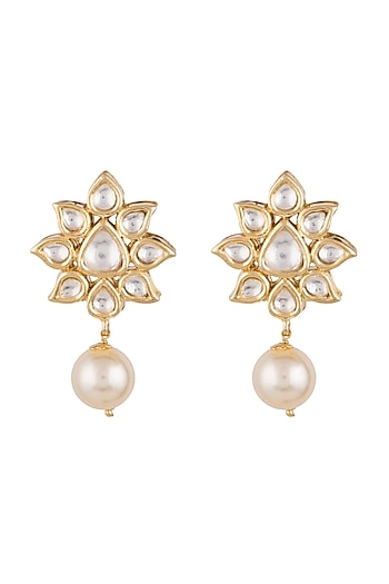 Gold Finish Faux Pearl & Kundan Earrings by Aster