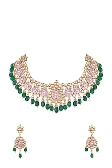 Gold Finish Pink Meenakari Kundan Necklace Set by Aster