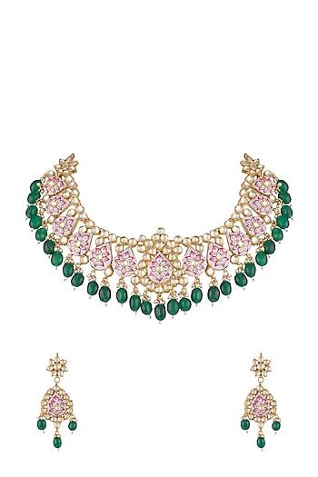 Gold Finish Pink Meenakari Kundan Necklace Set by Aster