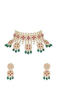 Gold Finish Faux Pearl, Kundan, Green Drop & Red Stone Necklace Set by Aster-JEWELLERY ON DISCOUNT