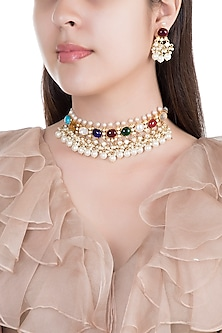 Gold Finish Multi Colored Stones Necklace Set by Aster