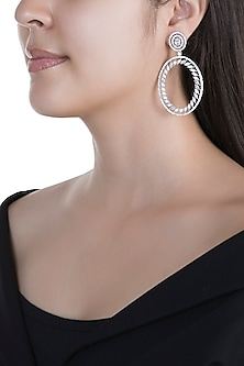White Finish Faux Diamond Long Earrings by Aster
