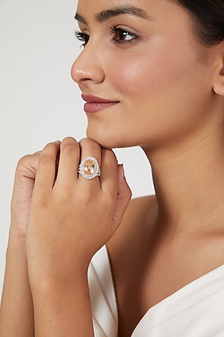 White Finish Zircon Ring by Aster