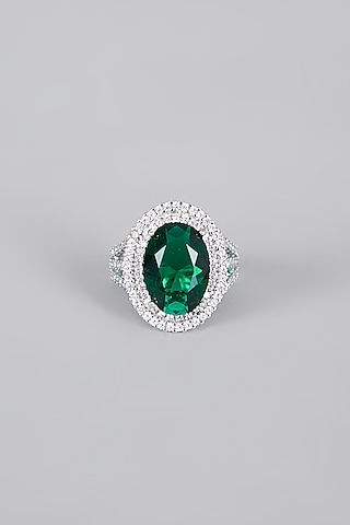 White Finish Emerald Ring by Aster