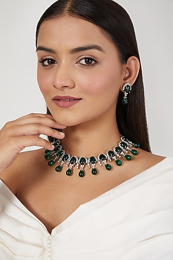White Finish Diamond & Green Stone Necklace Set by Aster