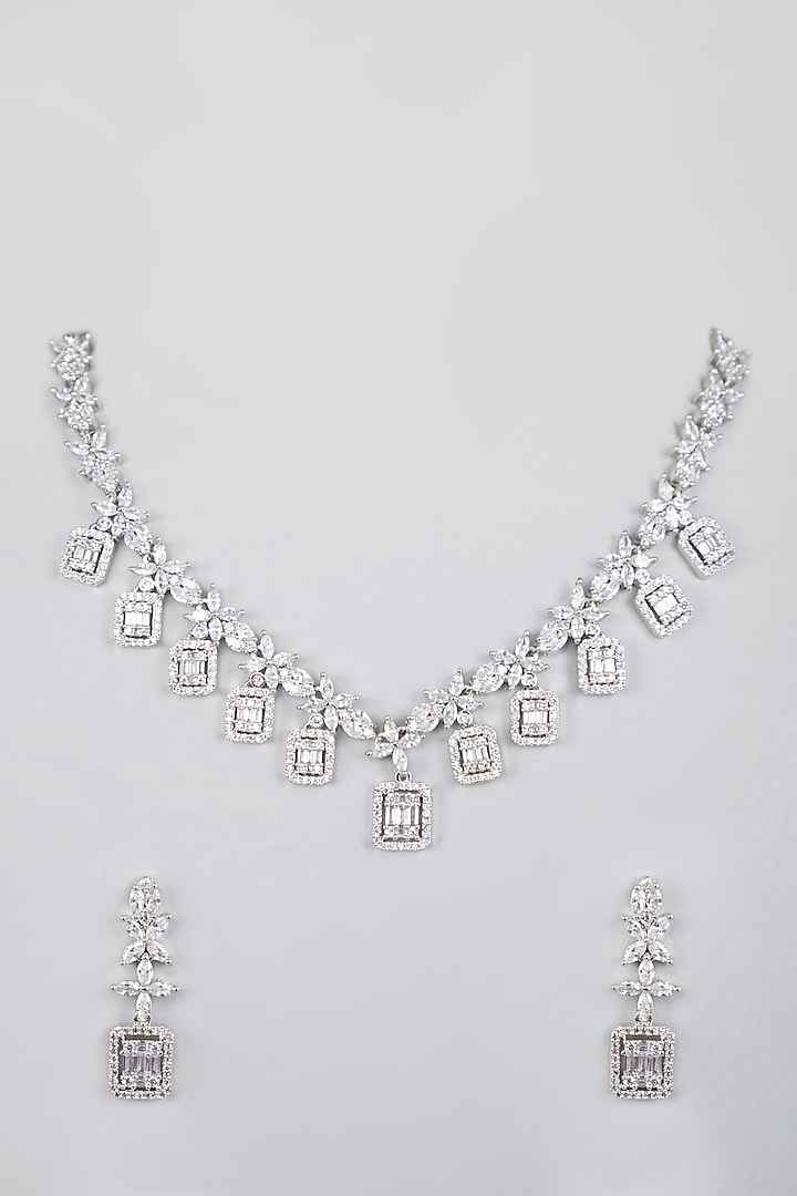 White Finish Zircon Necklace Set by Aster