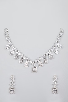 White Finish Zircon Necklace Set by Aster-POPULAR PRODUCTS AT STORE