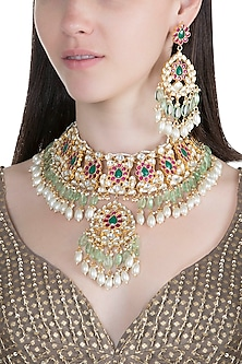 Gold Finish Multi Colored Kundan & Faux Pearl Necklace Set by Aster