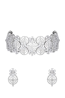 White Finish Faux Diamond Choker Necklace Set by Aster