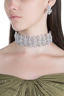 White Finish Faux Diamond Choker Necklace Set by Aster