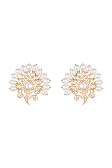 Gold Finish Faux Kundan, Pearl & Diamond Earrings by Aster