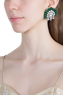 White Finish Green Bead & Faux Kundan Earrings by Aster