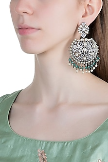 Black Rhodium Finish Green Stones Antique Earrings by Aster