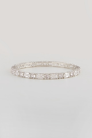 White Finish Faux Diamond Bangles (Set Of 2) by Aster