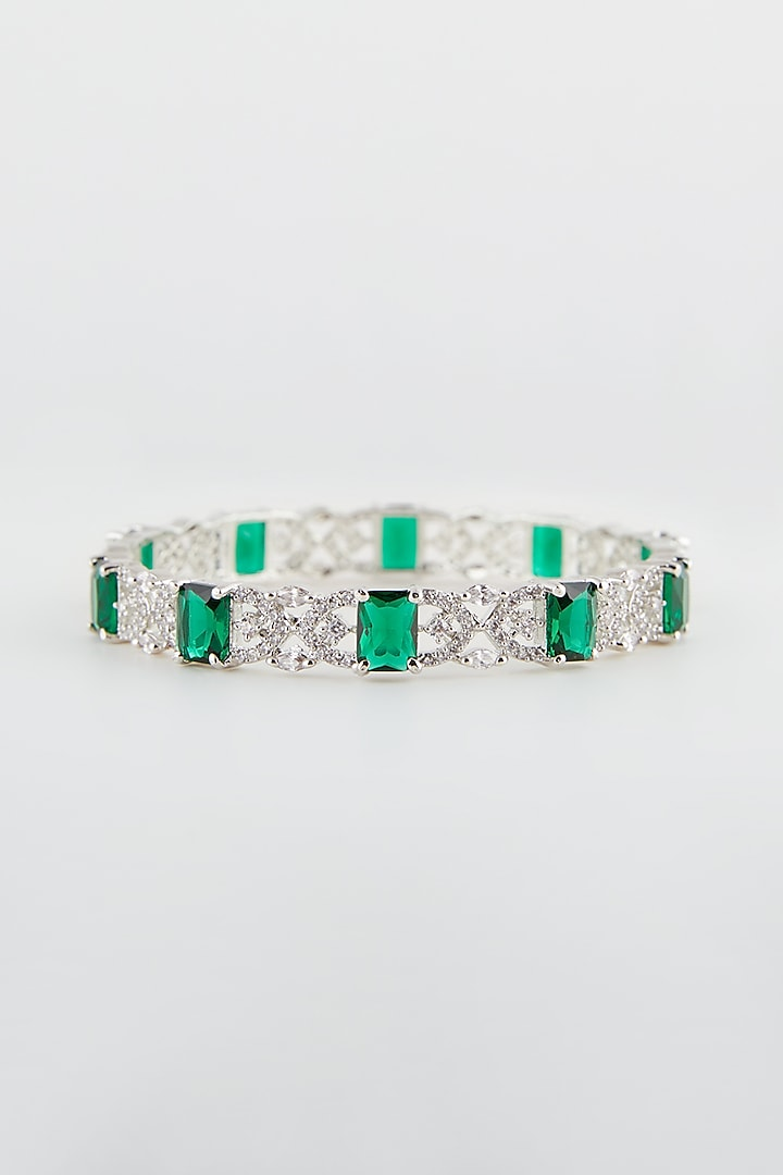 White Finish Green Synthetic Stone Bangles (Set Of 2) by Aster