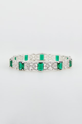 White Finish Green Synthetic Stone Bangles by Aster