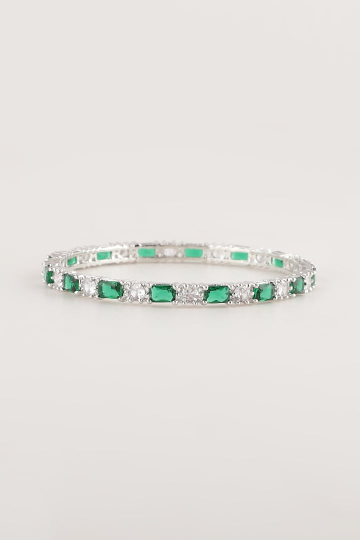 White Finish Green Stone & Faux Diamond Bangles (Set Of 2) by Aster
