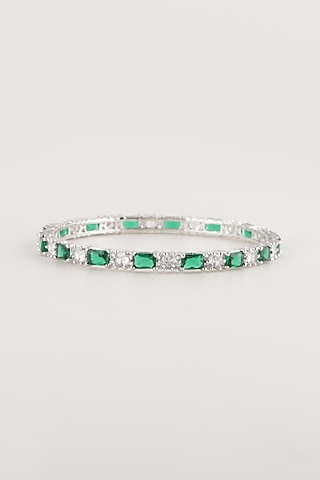 White Finish Green Stone & Faux Diamond Bangles by Aster