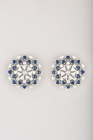 White Finish Blue Faux Diamond Stud Earrings by Aster