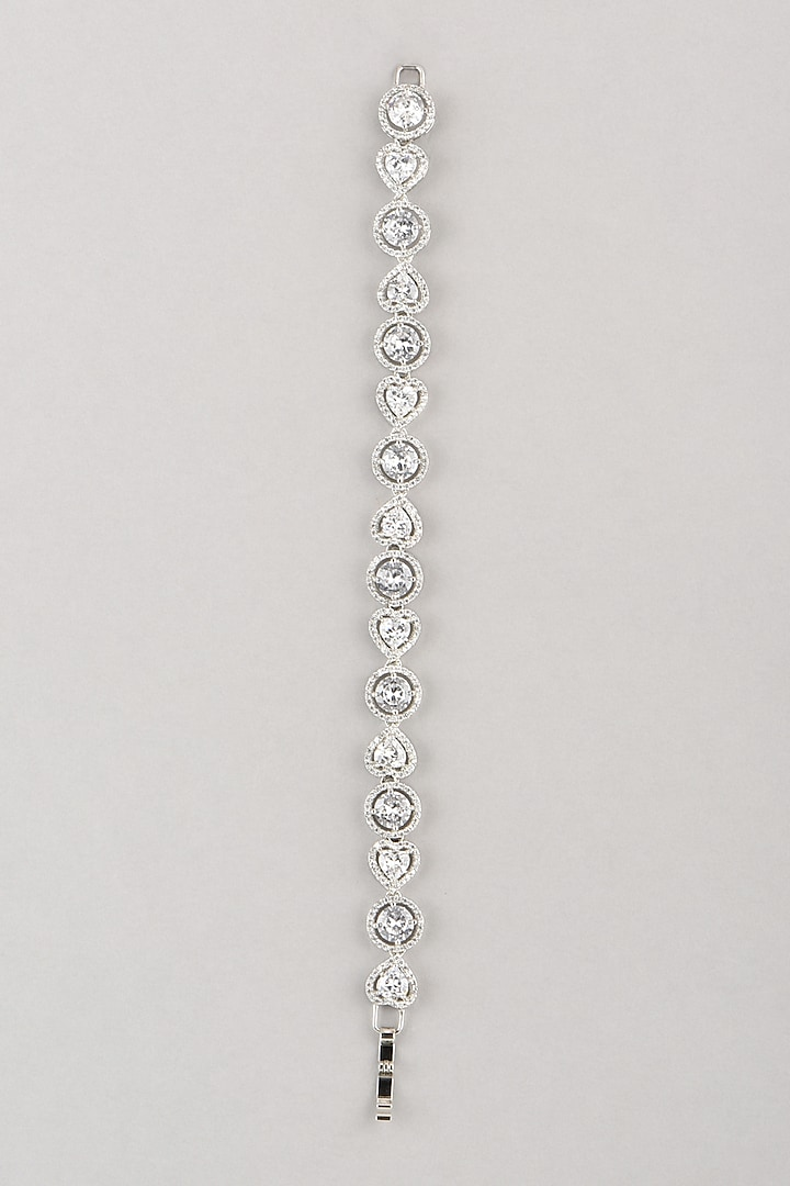 White Finish Bracelet With Faux Diamonds by Aster