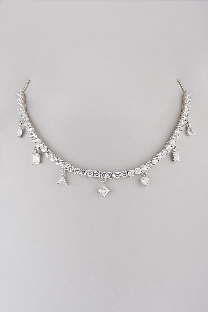 White FInish Faux Diamond Necklace by Aster