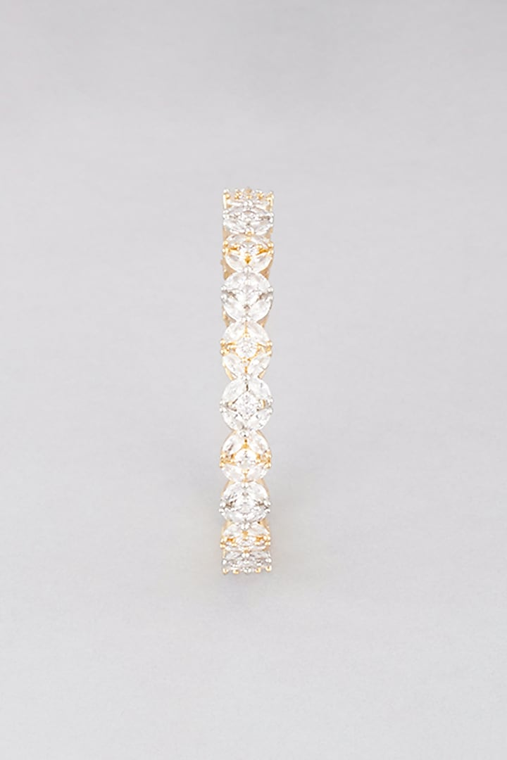 White & Gold Finish Faux Diamond Bangles (Set of 2) by Aster