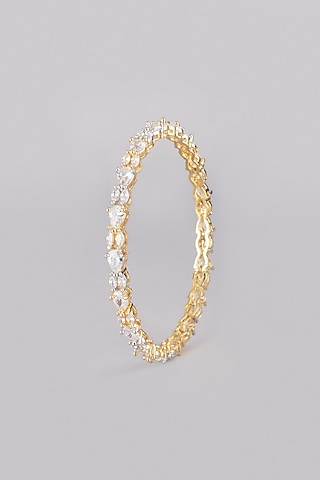 White & Gold Finish Bangles (Set Of 2) by Aster
