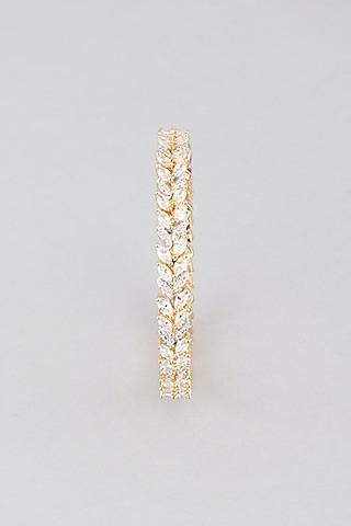Gold Finish Faux Diamond Bangles (Set Of 2) by Aster