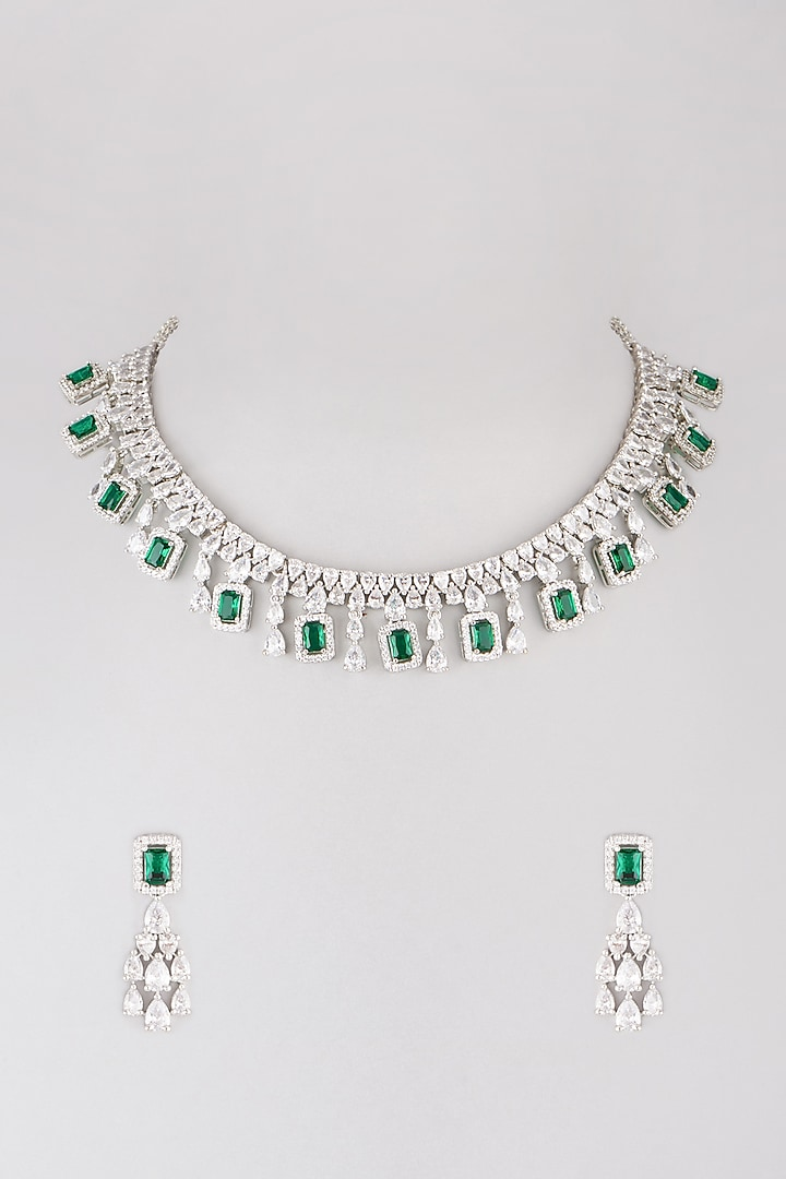 White Finish Green Faux Diamond Necklace Set by Aster