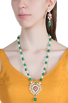Gold Finish Faux Pearls, Kundan & Stones Mala Necklace Set by Aster