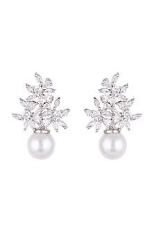 White Finish Faux Diamonds & Pearl Earrings by Aster