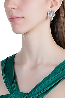 White Finish Faux Pearl & Diamonds Earrings by Aster