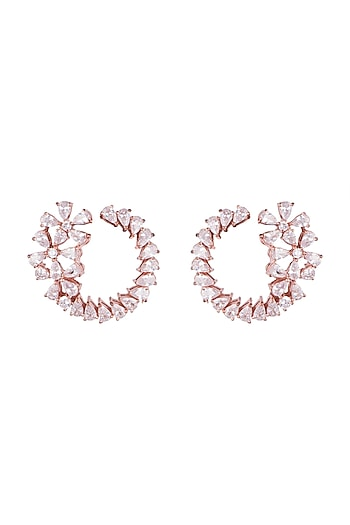 Rose Gold Finish Faux Diamonds Stud Earrings by Aster