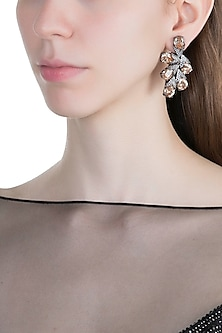 Black Rhodium Finish Faux Diamonds & Yellow Stones Earrings by Aster