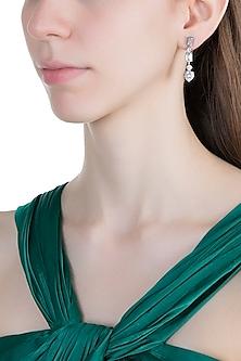 White Finish Faux Diamonds Dangler Earrings by Aster