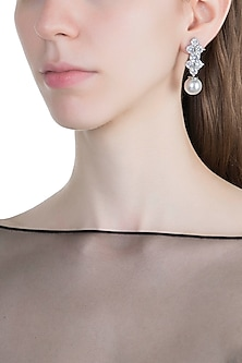 White Finish Faux Diamonds & Pearl Drop Earrings by Aster