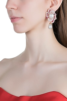 Rose Gold Finish Faux Diamonds, Pink Stones & Pearls Earrings by Aster