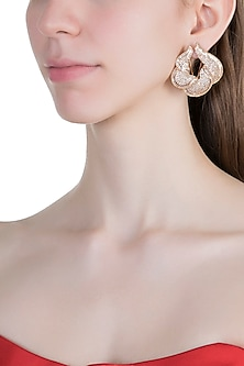 Gold Finish Faux Diamonds Earrings by Aster