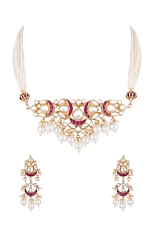 Gold Finish Pearls & Kundan Necklace Set by Aster