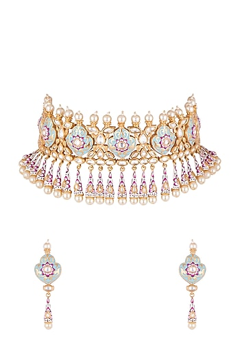 Gold Finish Meenakari Necklace Set by Aster