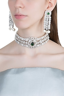White Finish Faux Diamonds, Pearls & Stone Choker Necklace Set by Aster