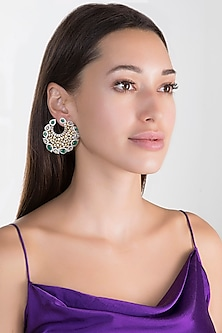Gold Finish Faux Diamond & Stone Earrings by Aster
