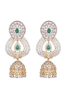 Gold Finish Faux Diamond & Stone Jhumka Earrings by Aster