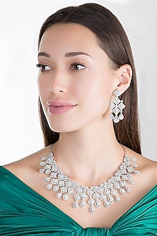 White Finish Faux Diamond Necklace Set by Aster