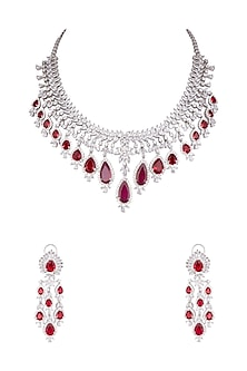 White Finish Faux Diamond & Red Stone Necklace Set by Aster-JEWELLERY ON DISCOUNT