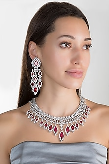 White Finish Faux Diamond & Red Stone Necklace Set by Aster