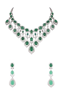 White Finish Faux Diamond & Green Stone Necklace Set by Aster