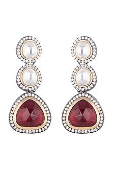 Black Rhodium Finish Faux Diamond & Stone Earrings by Aster