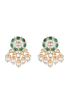 Gold Finish Kundan & Pearl Earrings by Aster